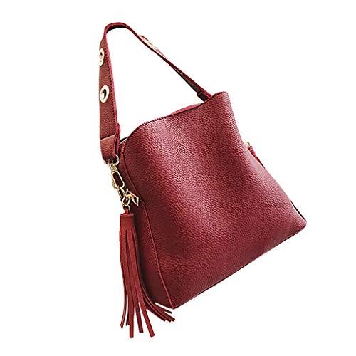 Linkay Neuer HeißEr Verkauf Mode Wild Damen Tasche Vintage Eimer-Tasche Handtasche UmhäNgetasche Quaste Retro Rucksack-Rot -