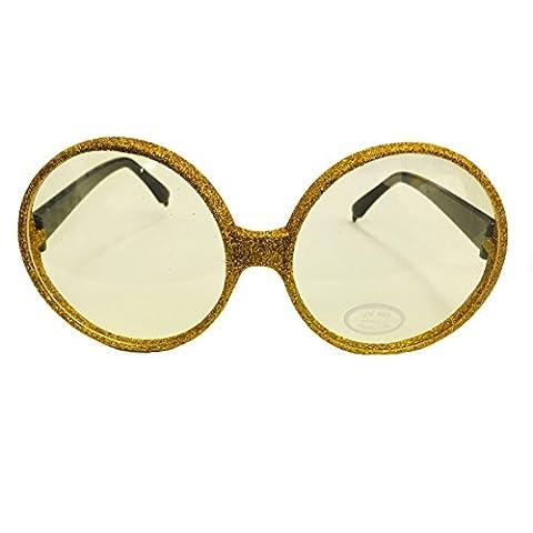 Brille rund, Glitter-Gold