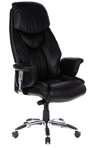hjh OFFICE 608200 XXL Chefsessel Prado Leder Schwarz Bequemer Bürosessel mit Dicker Polsterung