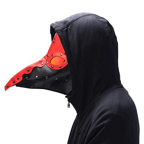 KOBWA Steampunk Pest Arztmaske Gothic PU Leder Lange Nase Vogel Schnabel Retro Kostüm Requisiten Halloween Cosplay Maskerade Ganzgesichtsmaske ()