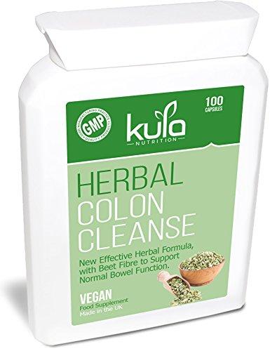Kräuter-Darm-Reinigung & Detox - 100 Kapseln - Leistungsstarke aber schonende Nahrungsergänzung Formel zur Unterstützung der normalen Darmfunktion - Geeignet für Veganer und Vegetarier.
