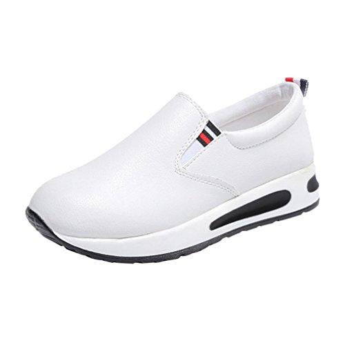 friendGG❤️❤Schuhe Damenschuhe Mode PU Schuhe Freizeitschuhe Einbeinige Schuhe Flache Schuhe Turnschuhe Laufschuhe Plateauschuhe Damenschuhe Elegante Schuhe Lederschuhe (38, Weiß)