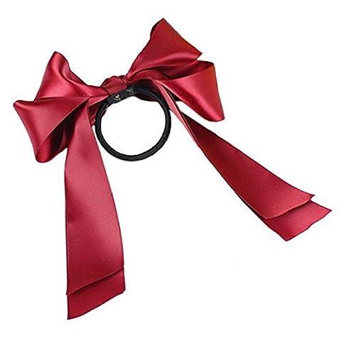 Flyyfree Korean Fashion Girl's Bowknot Hair Band Satin Ribbon Bow Ponytail Holder Scrunchie(Red)