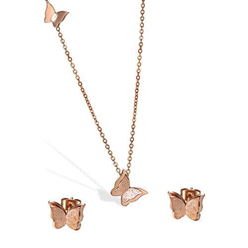 Cupimatch Schmetterling Ohrringe Damen Halskette Set Ohrstecker Mädchen Schlüsselbein Kette Edelstahl Piercing Ohr Schmuck, Rosegold
