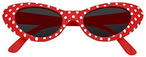 Cat Eye Brille Sandy mit Punkten - (Brille Kostüme Rote)