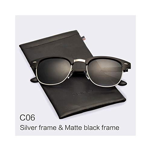 Sportbrillen, Angeln Golfbrille,Classic Half Metal Polarisiert Sunglasses Men Women Brand Designer Glasses Mirror Sun Glasses Fashion Gafas Oculos De Sol C06