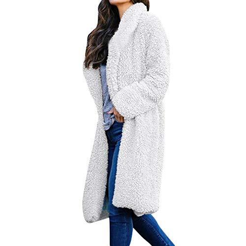 Strickjacke Damen Lang Dasongff Plüschjacke Wolljacke Kunstfell Mantel Jacke Essential Hooded Down Coat Revers Winter Oberbekleidung Casual Lapel Trenchcoat (Plüsch-kimono)