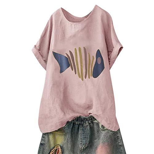 JYJM Frauen Plus Size Casual Kurzarm Bluse Fischgräte Print O-Ausschnitt Baumwolle Leinen Top Sommer Dünn und leicht Freizeit Bequem Strand T-Shirt -