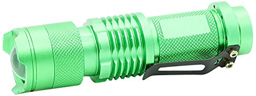 Pure² Mini Q5 Cree LED Taschenlampe (3 Modi: Flash, Hell und Dunkel, 300 Lumen, 7 Watt) mit einstellbarem Fokus Zoom grün - 300lm Cree Q5 Led