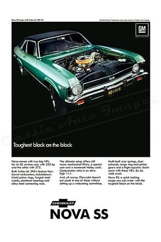 Classic und Muscle Car-Anzeigen und Auto Art 1968Chevrolet Nova SS AD digitalisierte, & Remastert Auto Plakat Poster Print