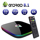 Android TV BOX,Q PLUS Android 8.1 TV BOX 4GB RAM/64GB ROM H6 Quad-Core Supporto 2.4Ghz WiFi 6K HDMI DLNA 3D Smart TV BOX