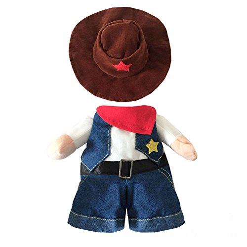 Bold Manner Kostüm Halloween Haustier Hund stehend westlichen Cowboy + Hut Kleidung Set (L, (Dress Cowboy Up Kleidung)