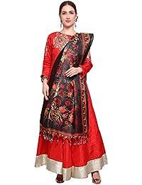 Mrinalika Fashion Cotton Silk Digital Print Dupatta (Dupattas For Womens _Salwar Suit Dgdpt14_Black_Free Size)