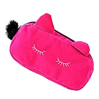 Lady Cosmetic Bag Makeup Case Travel Organizer Cute Cat Rose Red 11x23x5.5cm