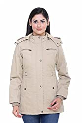 Trufit Full Sleeves Solid Womens Fawn Medium Length Removable Hood Cotton Parka Jacket