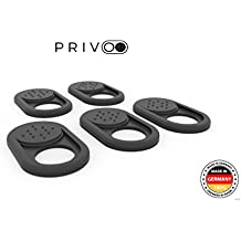 Tapadera webcam Privoo original, 5 uds. / Fabricada en Alemania / Tapa webcam portátil / Etiqueta antiespía para cámara / Diseño ultrafino / Blanca o negra (Negra) / Fijación extrafuerte 3M
