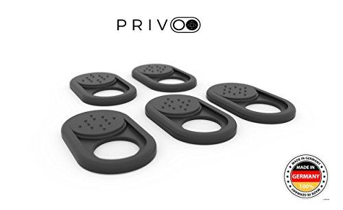 Privoo Webcam Abdeckung Made in Germany   Webcam Cover 5er-Set schwarz • für Laptop  MacBook, iMac & Handy • ultra dünn • Sticker mit starkem Halt • wirksamer Schutz der Kamera vor Hackern