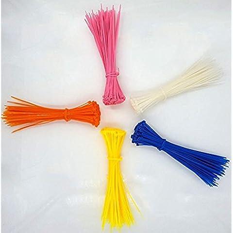 dikete® 500pcs Juego de bridas para cables (nailon resistente antideslizante autoblocante Zip Tie [UL reconocido] alta calidad respetuoso con el medio ambiente ajustable Durable Cable Tie 0,1* 7.9inch [color blanco + naranja + amarillo + rosa + azul]