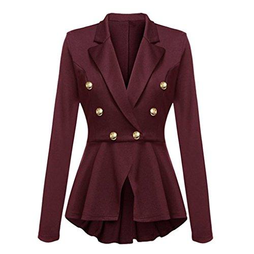 Sunnywill Damen Langarm Blazer Rüschen Schößchen Knopf Freizeitjacke Mantel Outwear (Wine red, S)