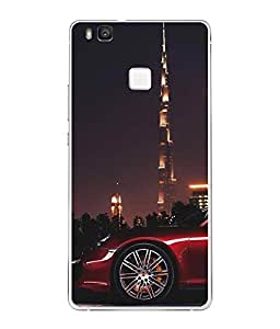 Fuson Designer Back Case Cover for Huawei P9 Lite (millionaire thinking Red Car Car on road Sports car )