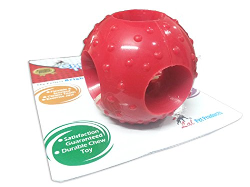 Super Dog Flavoured Rubber Chew Ball with Holes -Large