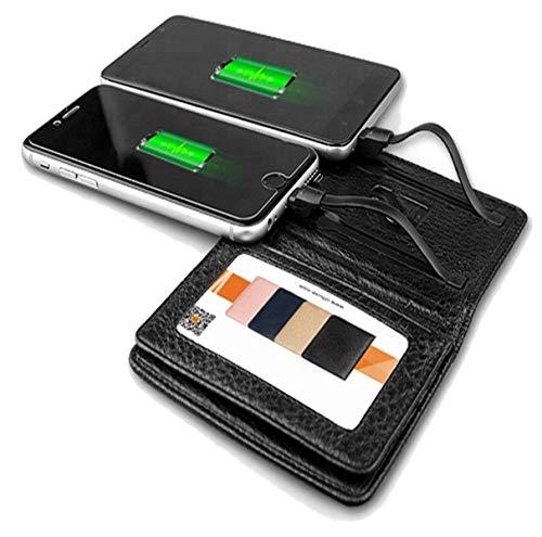 Powerbank 4000 mAh mit Kartenetui Echtleder RFID und NFC Schutz Ladegerät externer Akku Power Bank   für Iphone und Android   Genuine Leather Slim Smart Design Power Bank Wallet   EC-Karten Geldbörse-Führerschein-Ausweis-hülle mit Power Bank   IOS und Android Kabele  