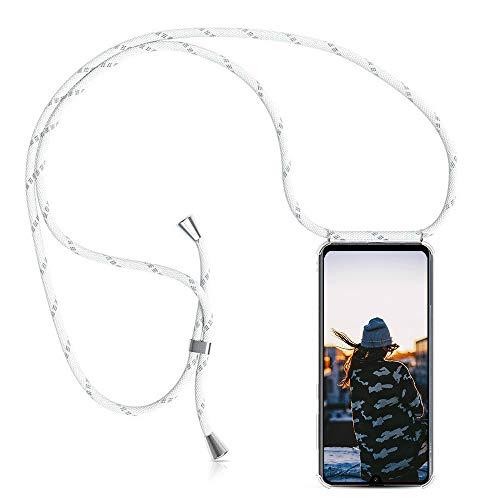 Coqin Handykette Kompatibel mit Motorola Moto G5s Plus Hülle, Smartphone Necklace Schutzhülle, mit Band Stylische Transparent Stoßfest Kratzfest Handyhülle - Schnur mit Case zum Umhängen in Weiß grau