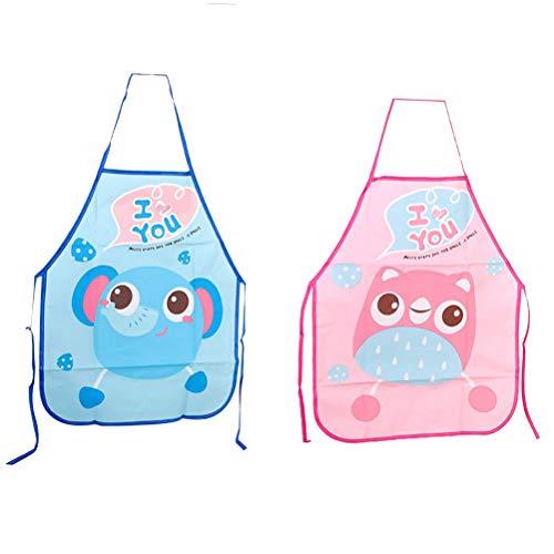 Yeahibaby 2pz grembiule impermeabili per bambini senza manica lavabili per bimbo (elefante blu e gufo rosa)