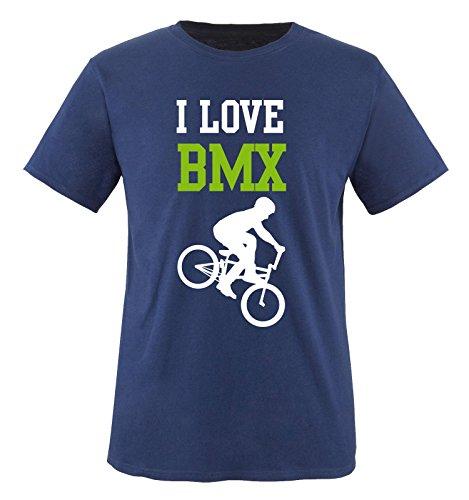 I LOVE BMX - Herren T-Shirt - Navy / Weiss-Grün Gr. M