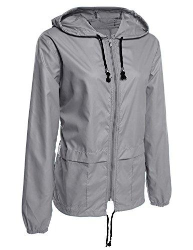 Onbay Damen Outdoors Atmungsaktive Regenjacke Funktionsjacke Wasserdichte Damenjacke zusammenfaltbare Windjacke Mit Taschen Kapuze(M)