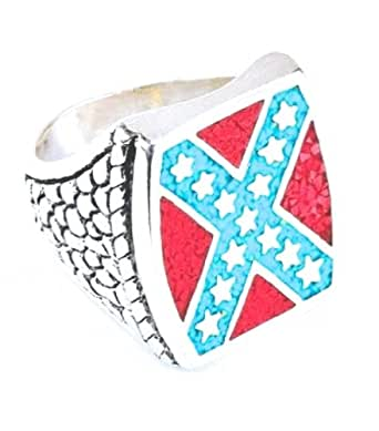 Bague Chevaliere USA Rebel Biker Confederate Ring - Plaque Argent - Turquoise - Made in USA - Taille 67