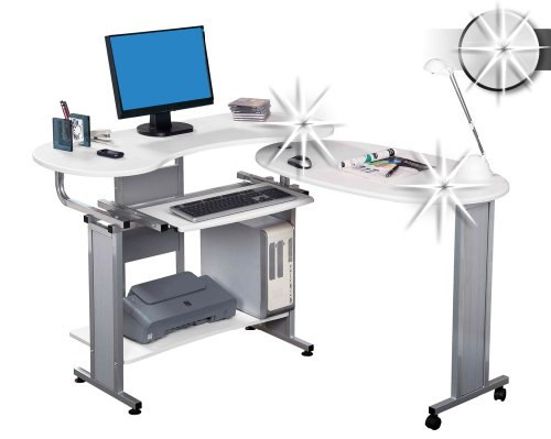 Get SixBros. Folding Computer DesK – PC Workstation – Office Desk – High Gloss White – S-213/1293