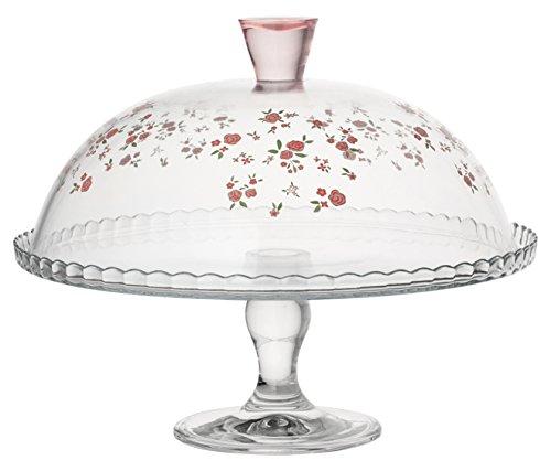 PASABAHCE 95200 Spring Présentoir à gâteaux en Verre avec Cloche, Transparent/Multicolore