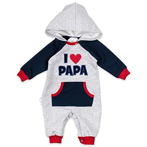 Baby Sweets Overall Unisex hellgrau Navy rot | Motiv: I Love Papa | Babystrampler mit Kapuze für Neugeborene & Kleinkinder | Größe: 6-9 Monate (74)... - Overall 9 Monate