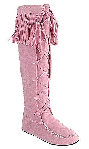 Minetom Damen Herbst Winter Elegant Lange Stiefel Beiläufig Flache Ferse Stiefel Quaste Schnüren Stiefel Rosa EU 38