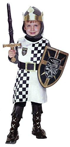 Ritter Kostüm für Jungen - Schwarz, Weiß - Kinderkostüm - L - Gr. 140 - 7-10 (Ritter Kostüm 7)