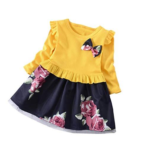 ღ uomogo abiti bambini estate maniche lungo floreale vestito gonne 1-5 anni, 75-130 cm,