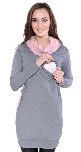 Mija - Umstandsmode / 2 in1 Elegant Stillpullover & Umstandspullover Ellie 7129 Grau / Rosa