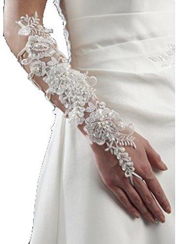 Mitaine dentelle, modèle ALLISSON, court ou mi-long, blanc ou ivoire, mariage, fiancailles Blanc