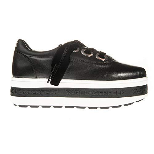 3 Tie Lace Up Schuh (Karl Lagerfeld Kobo Kup 3-Eye Tie Schwarz Damen Platform Sneakers-UK 8)
