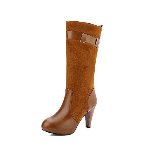 VogueZone009 Damen Blend-Materialien Mitte-Spitze Rein Ziehen auf Hoher Absatz Stiefel, Schwarz, 41