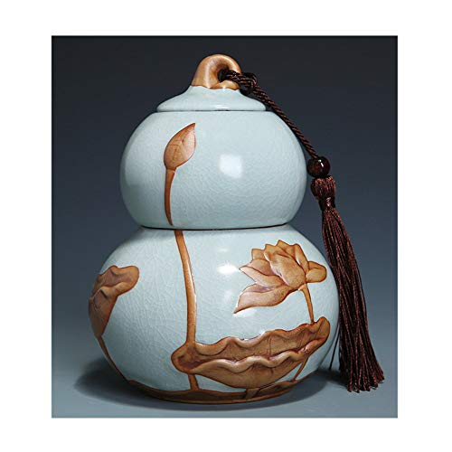 ZWJ-Begräbnisurnen Urne Feuerbestattung Bestattungsurne Für eine kleine Menge menschlicher Asche Gegen Feuchtigkeit abgedichtet Kürbis Ornamente Perfektes Souvenir (Color : Gray) -
