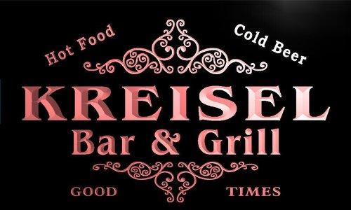 u24418-r KREISEL Family Name Bar & Grill Home Beer Food Neon Sign Barlicht Neonlicht Lichtwerbung (Grill - Kreisel)