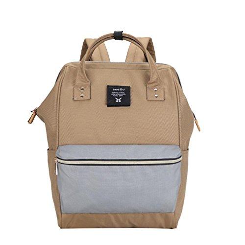 CHENGYANG Mädchen Jungen Schultasche Canvas Rucksack Handtasche Wanderrucksack Reisetasche 12 Zoll Laptoprucksack Khaki Hellgrau