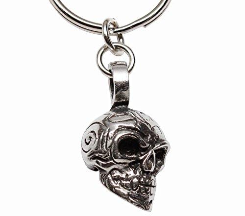 Maori Tribal Skull Head Biker Zinn Schlüsselanhänger (Gebet Die Halloween-tag Für)