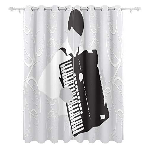 AGIRL Schöne Melodie-Akkordeon-dekorativer hängender 2 Panel-Satz druckte Blackout-Vorhänge für Schlafzimmer-Wohnzimmer-Esszimmer-Fenster drapiert 54x84 Zoll-Vorhang -