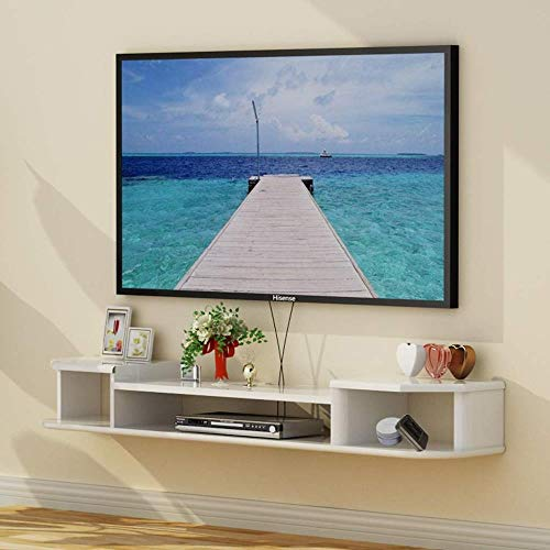 HONGYU Schwimmende Regal Wand tv Schrank Schlafzimmer Wohnzimmer wandregal Router Set top Box DVD Player lagerung Regal Display Regal tv ständer (Size : White 80 cm) -