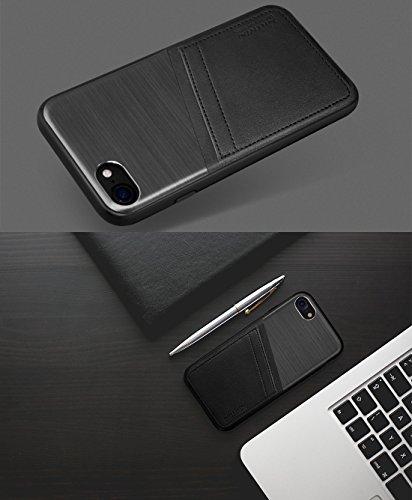 Mobiltelefonhülle - NILLKIN Classy Case für iPhone 7 Business Style gebürstete Textur Aluminiumlegierung Krokodil Textur PU Skin PC Schutzhülle mit TPU Frame & Card Slots ( Farbe : Gold ) Gold