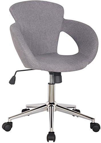 SixBros. Bürostuhl Schreibtischstuhl Drehstuhl Grau Stoffbezug M-65335-3/2335