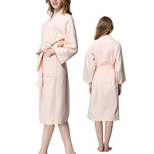DealMux Cotton Lady Waffel Kimono Bademantel Belted Spa Robe knielangen Nachtwäsche XXL Rosa -